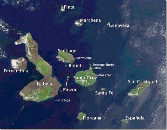 Galapagos NASA satellite image