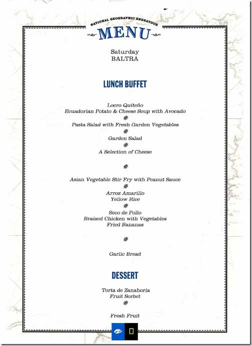 Lindblad National Geographic Endeavour Saturday Lunch Menu