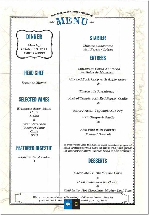 Lindblad National Geographic Endeavour Monday Dinner Menu