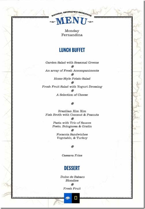 Lindblad National Geographic Endeavour Monday Lunch Menu