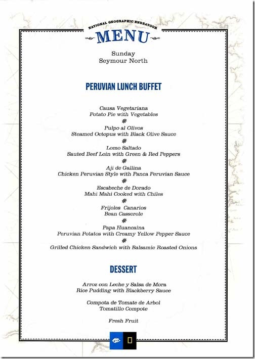 Lindblad National Geographic Endeavour Sunday Lunch Menu