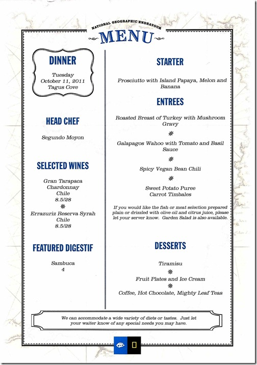 Lindblad National Geographic Endeavour Tuesday Dinner Menu