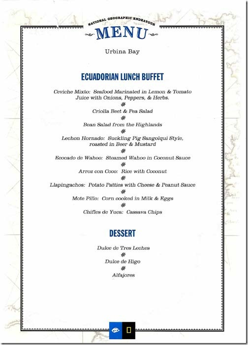 Lindblad National Geographic Endeavour Tuesday Lunch Menu