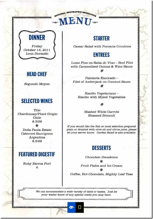 Lindblad National Geographic Endeavour Friday Dinner Menu