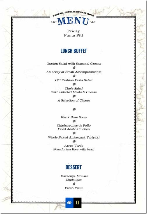 Lindblad National Geographic Endeavour Friday Lunch Menu