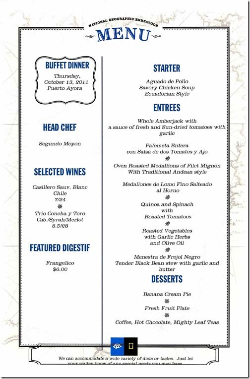 Lindblad National Geographic Endeavour Thursday Dinner Menu