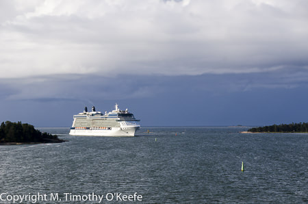 cruise ship at helsinki harbor entrance