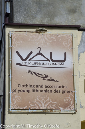 Klaipeda Lithuania clothing store sign in English