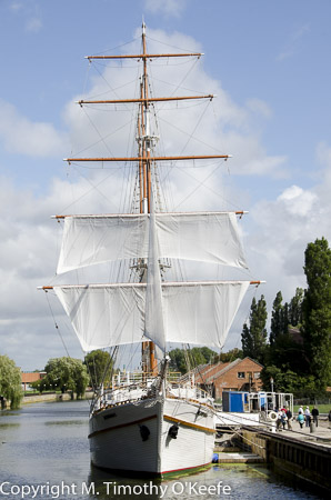 "Klaipeda Lithuania the tall ship ""The Meridianas"" on Dane River"