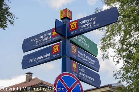 Klaipeda Lithuania bilingual directional signs in English and Lithuanian