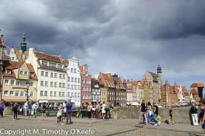 Motlawa River bridge with Gdansk Old Town in background, Poland