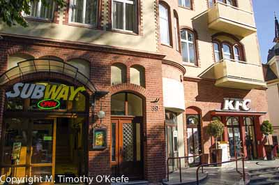 Sopot Poland Monte Cassino Street with American KFC and Subway stores