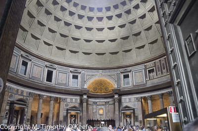 Pantheon interior is cylindrically shaped.